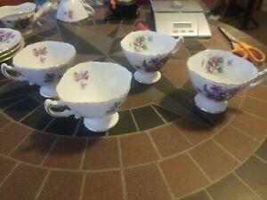 VINTAGE ROSSETTI CHINA SPRING VIOLETS OCCUPIED JAPAN 4 TEA CUPS EXCELLENT SHAPE