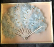 Vintage Framed Blue Feather Fan With Flowers