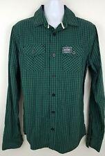 SuperDry Classic Lumberjack Green Plaid Long Sleeve Button Shirt Men's Slim XL