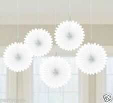 5 Mini Fan Decorations White Hanging Gift Wall Official Party Amscan