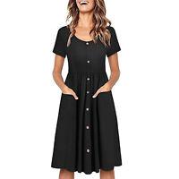 Knee Length Button Short Sleeve V Neck Down Skater Black Dress With Pocket S -XL
