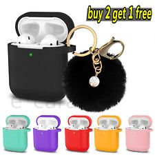 AirPods Silicone Case Protective Cover + Fur Ball Keychain For AirPod Case 2 & 1