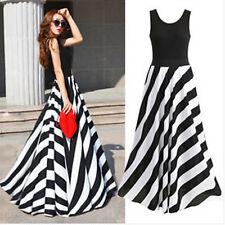 Boho Womens Striped Beach Casual Summer BOHO Maxi Long Formal Chiffon Dresses