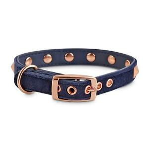 Bond & Co. Blue Velvet and Rose Gold Dog Collar by Bond & Co Extra-Extra Small