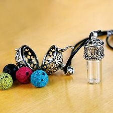 Aromatherapy Essential Oil Diffuser Necklace Pendant Locket With 4 Lava Stones