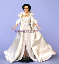 Elizabeth Taylor Barbie Doll Dazzling Crystal White Gown OOAK Celebrity Redress