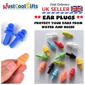 SILICONE SOFT EAR PLUGS ANTI NOISE SLEEP WORK STUDY REUSABLE FOAM UK