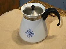 CORNING WARE VINTAGE BLUE CORNFLOWER FLORAL TALL COFFEE POT 6 CUP PITCHER LID