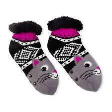 Fuzzy Babba Womens Long Warm Slipper Socks Black Pink Grey Kitty Cat One Size