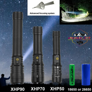 150000LM XHP90 XHP70 XHP50 LED Flashlight Rechargeable Camping Torch Police Lamp