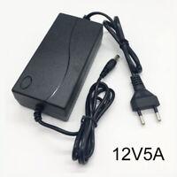 12V 5A 60W LED Transformer Power Supply Adapter EU Power Supply Adapter Black
