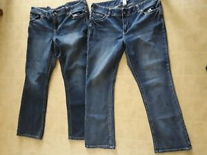 Maurices Womens Jeans Plus Sz 20 Regular Thick White Embroidered Stitch Lot of 2