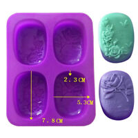 4-Cavity Rose Silicone Mold DIY Handmade Soap Mold Pudding Chocolate Mold