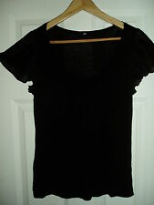 Ladies H&M Frill Arms Black Size M Top