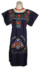 Navy Blue Boho Vintage Style Hand Embroidered Tunic Mexican Dress Hippie Puebla