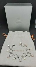 Tiffany and Co. Iridesse Square Link Sterling Silver Cultured Pearl Bracelet