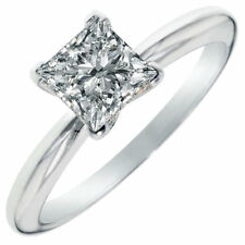 3 Ct Princess Cut Solitaire Diamond Engagement Promise Ring Solid 18K White Gold