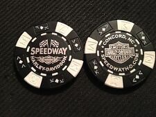 "Harley Golf Ball Marker Poker (ORIGINAL Black/White) ""Speedway Concord NC NASCAR"