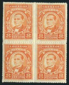 Mexico 666 block/4,MNH.Michel 596. Benito Juarez,1926.