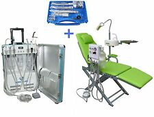Portable Dental Unit with Air Compressor + Dental Chair + Handpiece Kit 2H/4H