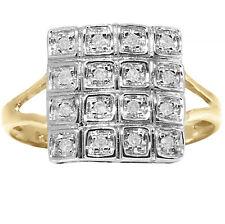 Natural Genuine 16 Diamond 9ct 9k 375 Solid Gold Pave Ring - Bravo Jewellery