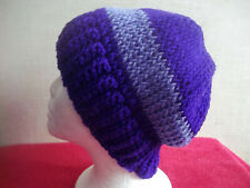 Tunisian Stitch Crocheted Purple and Lavender Striped Slouch Hat