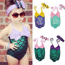 niña infantil SIRENA acuática bikini traje de baño bañador pez nadando Escala