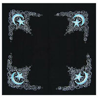 "NEW Celtic Moon Altar Cloth 36"" Black Rayon Pentagram Scarf Karuna Arts Pagan"