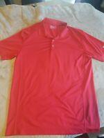 Nike Golf Mens Polo Shirt Size LARGE Short Sleeve Red Striped Dri Fit EUC