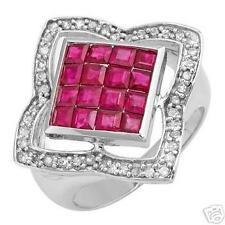 Nice ring 1,93 ctw véritable diamants & rubis dans 10k WG