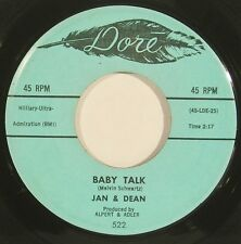 """JAN & DEAN """"Baby Talk"""" rock and roll 45 original issue on DORE nice! HEAR"""