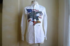 DSQUARED² SUPER RARE AMERICAN EAGLE FRONT PLEATED PRINT CASUAL DRESS SHIRT 54 44
