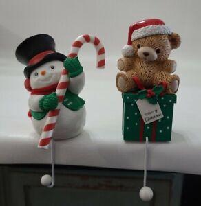Halmark Cards Christmas Stocking Holders Hooks Snowman Teddy Bear 1989  Vintage