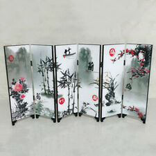 6 Panels Wooden Room Divider Screen Flower Bamboo Folding Partition Screens Gift