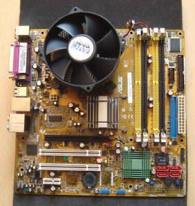 Mainboard ASUS P5LD2-VM/S mit CPU Core 2 Duo E6700 2,66 GHz, Lüfter, Slotblende