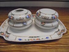 Antique Hand painted Nippon Hair Receiver and Power Set