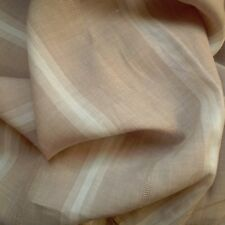 100% Ramie Linen Fabric Yarn Dyed White & Dobby Weave Stripe Khaki Ground BTY