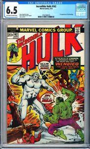 Incredible Hulk #162 CGC 6.5 1st appearance of Wendigo!KEY ISSUE!L@@K!