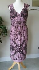 Peruvian Connection Pink 100% Silk Dress occasion Cruise Size 16 (ref A1)