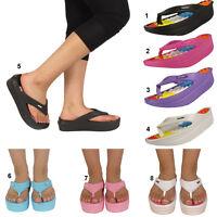 Womens Wedge Flatform Toe Post Sandals Flip Flops Ladies Size UK 3 4 5 6 7 8