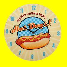 Orologio da parete in vetro, Hot Dogs, Diametro 30 cm - Stile Vintage da Muro