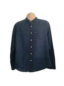 Levis Mens Large Immaculate Linen Cotton Navy Geometric Shirt