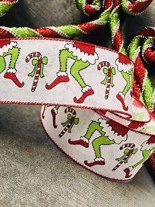 Grinch legs Christmas Wire Edged Ribbon, Tree Wreath Garland decorations, 5 M
