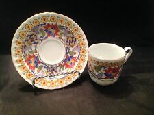 Kutahya Porselen demitasse Cup & Saucer Gold, Red, Blue With Gold Rims