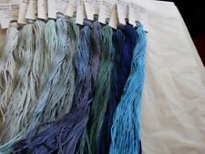 The Essential Blues  Collection hand dyed floss. 12 (20 yd skeins)