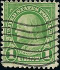 GREEN Ben Franklin 1 Cent Used Machine Flag Cancel XF US STAMP No Gum Perf 11x