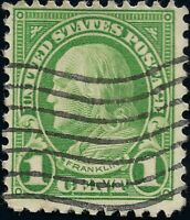 GREEN Ben Franklin 1 Cent Used Machine Flag Cancel XF US STAMP No Gum Perf 11