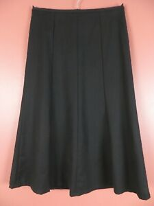 SK15788- TALBOTS Women's 99% Wool Thin Flannel Paneled Flare Skirt Black 2