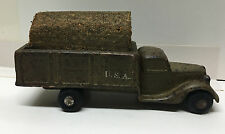 (61136) VINTAGE UNKNOWN MANUFACTURER DIMESTORE ARMY TRUCK with CLOTH CANOPY