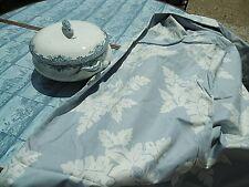 Tissu  chintz bleu et blanc    ( 270 x 150 cms )